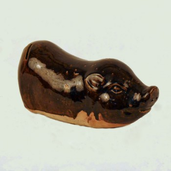 Brown Glazed Ceramic Pig