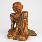 Red Lacquer Gold Gilt Buddha Devotee